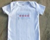 Hand-embroidered Chicago Flag Baby Bodysuit-Onesie