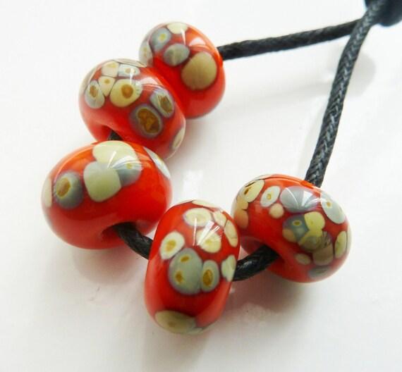 Handmade lampwork glass beads, orange raku set