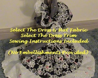 "PART #3 Option F - Pre-Cut FABRICS for Dress, Jacket, Apron, Purse, Hat w/Reg Pattern/Instructions for 18"" CDH ""Three Blind Mice..."" Dolls"