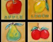 """Set 4 4""""x4"""" Fruit Hand Painted Ceramic Deco Art Tile Trivet Coasters X05"""