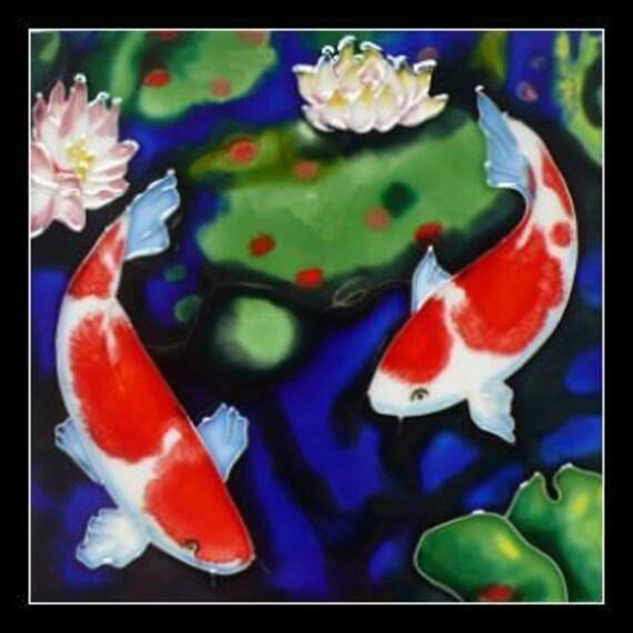 "6""x6"" Koi Carp Hand Painted Ceramic Deco Art Tile Trivet BA13"