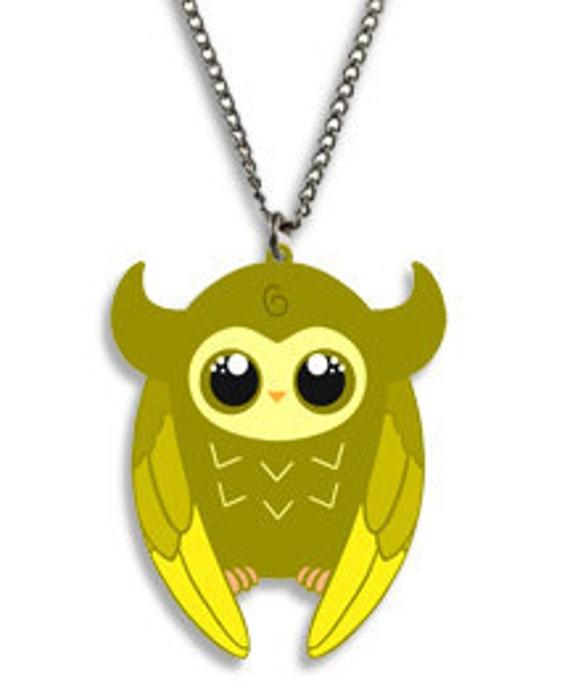 SALE - Little OWLIE - Tomo's little Owlie, Kawaii Necklace Charm