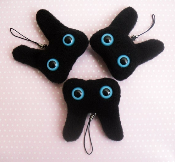 LAST ONE - WABBITZ - Kawaii Plush Phone Charm Key Ring Accessory - Black with Blue Eyes