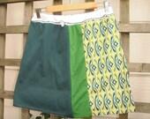 Eco Green Mini Skirt/ Funky Geometric Color Block Mini Skirt Upcycled Green Yellow Oregon Ducks