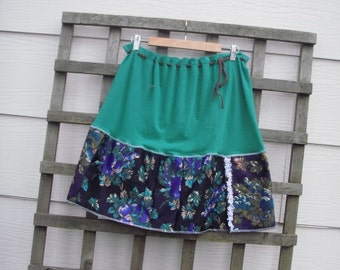 Eco Green Stretch Knit Skirt/ Sweet Upcycled T Shirt Skirt Floral