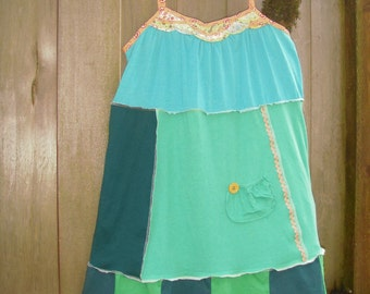 Upcycled Green Patchwork Pixie Dress/ Sweet Eco Chic Swing Dress/ Funky Green Frock