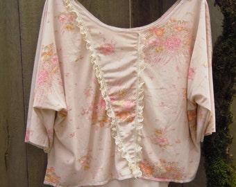 Romantic Eco Hi Lo Batwing Blouse/ Retro Mori Girl Strawberry Shirt/ Summer Blouse Shabby M/L Vintage Hippie Boho