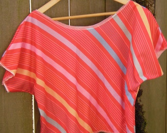 Funky Color Block Stripe Blouse/ Half Shirt/ Vintage Crop Top Poly Stretch Knit Red Pastel Stripes S/M