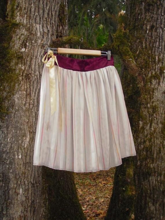 Upcycled Fairy Skirt Eco Sheer Striped Satin Ribbon Ballet Fairy Skirt