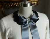 Bow Front Scallop Peter Pan Collar Necklace with Silky Bow Back Closure and Rhinestone Embelishment