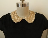 Gold Sequin Peter Pan Collar Necklace, 2 Sided with Pearl Embelishment of Adjustable Satin Bow Back Closure