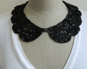 Black Sequin Peter Pan Collar Necklace, with Scallop Shape and Jewelry Clasp Closure