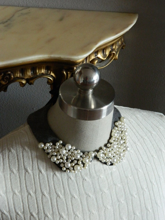 Pearl Encrusted Peter Pan Collar Necklace with Adjustable Satin Bow Back