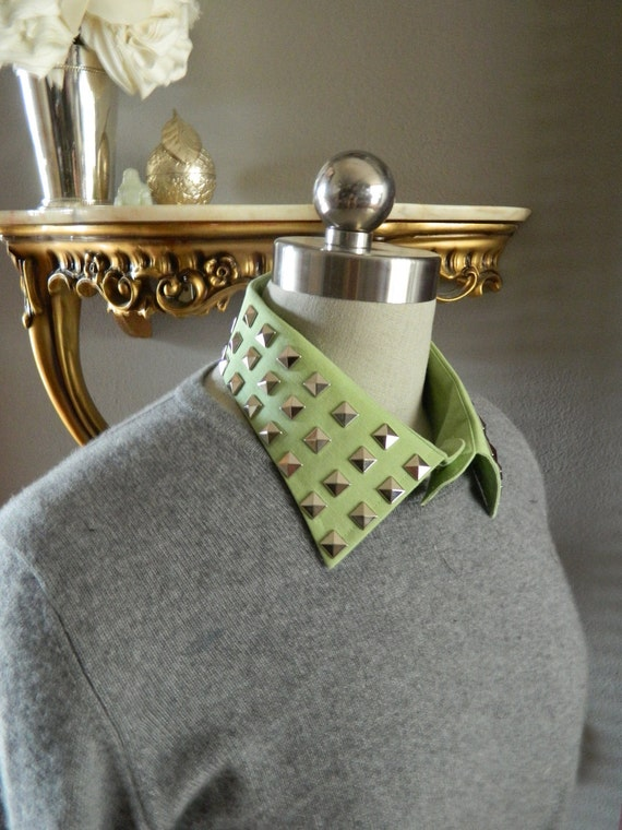 Mint Detachable Collar with Silver Stud Embelishment