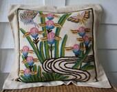 Vintage crewel pillow