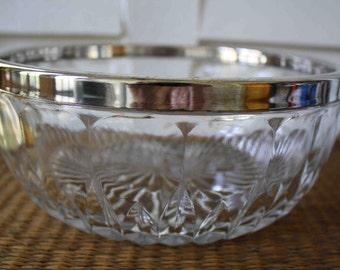 Vintage silver-rimmed bowl, silver rimmed bowl, silver and glass bowl, vintage bowl