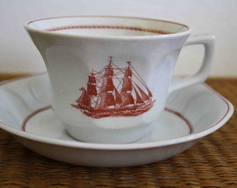 Vintage nautical cup and saucer, Wedgwood Flying Cloud, two available, beach house, vintage Wedgwood, Game Cock 1850