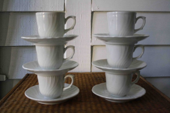 Vintage white espresso cups from Italy, Fontebasso (set of six)