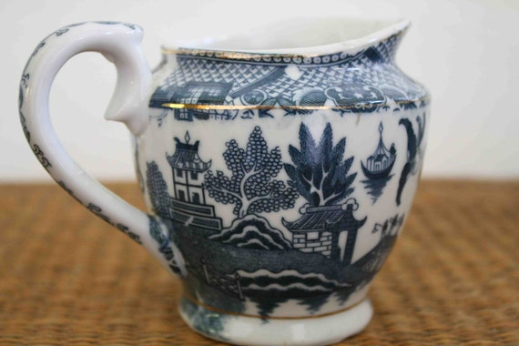 Vintage blue and white pitcher