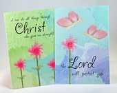 Christian postcards - set of 2 (the Lord will protect / Christ gives strength)