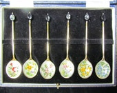 Vintage sterling and enamel demitasse spoons in presentation box, sold by Harrods of London, GORGEOUS