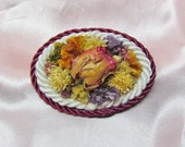 Handmade flower pin made with dried flowers