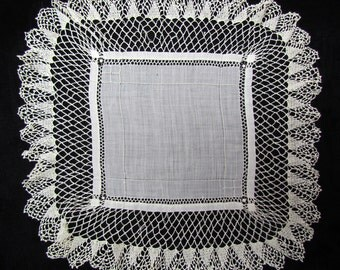 Antique lace trimmed handkerchief, Victorian wedding hanky, 1800's handkerchief with drawnwork and crocheted lace