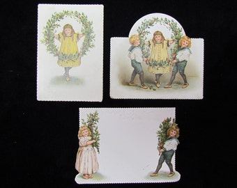 Antique paper ephemera, Christmas children and holly wreaths, 1890's Christmas ephemera