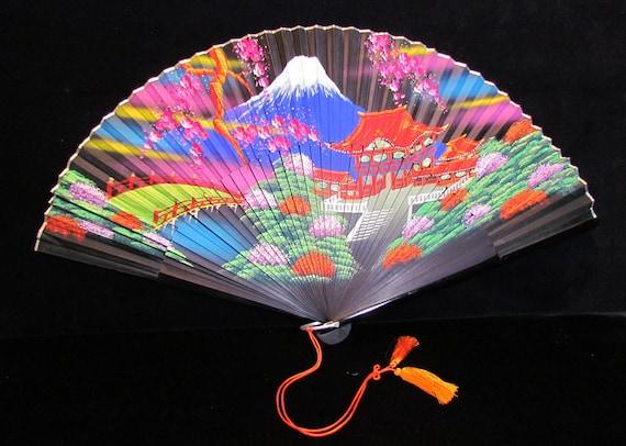 Japanese silk fan, hand-painted, in original box, c.1950's