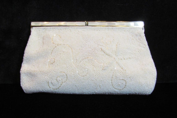 SALE 1960's beaded clutch, off-white, mother-of-pearl frame