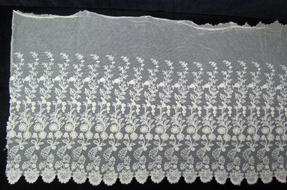 Antique embroidered net lace, early 1900's ecru wide lace