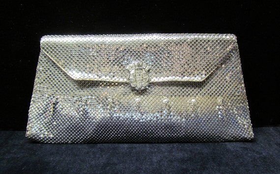 C.1930's Whiting and Davis silver mesh clutch, rhinestone clasp
