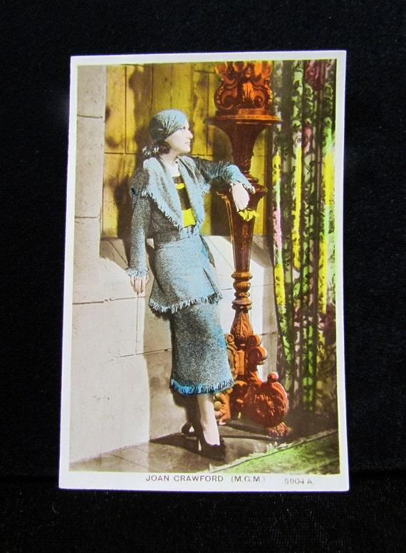 1930's movie star postcard - Joan Crawford, high-fashion color photo