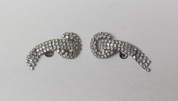 Vintage shoe clips by MUSI - 1960's rhinestone shoe clips