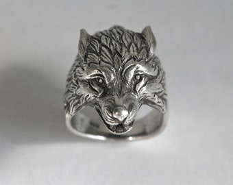 wolf head ring, Ring for man, Wolf ring, Bikers ring, animals ring.