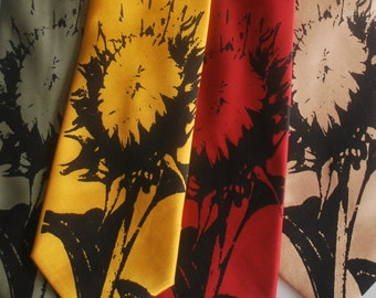 Sunflower silkscreen neckties. Microfiber screen printed sunflower tie.