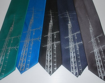 Vintage TV Antenna silkscreen neckties. Microfiber screen printed analog TV Antenna tie.