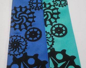 Candy Gear silkscreen neckties with black ink. Microfiber screen printed Gear tie.