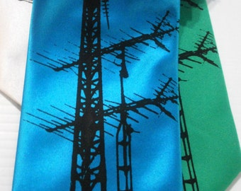 Vintage TV Antenna silkscreen neckties. Microfiber screen printed analog TV Antenna tie with black ink.