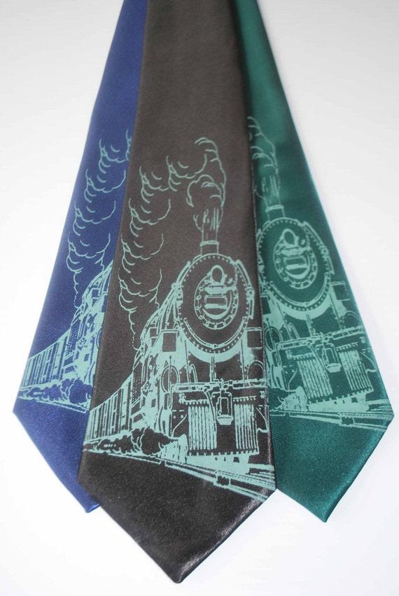 Train silkscreen neckties. Microfiber screen printed steam engine mint green ink tie.