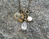 Personalized / Custom Antiqued Brass Stamped Charm Necklace