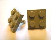 Grey lego ear studs, square
