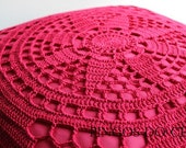 HOME DECOR: Hot pink cushion crocheted by hand.  Spring/Summer Decor. Ready to ship.