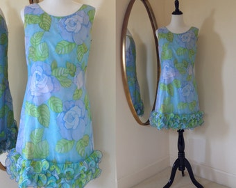 Vintage 60s Floral Sleeveless Designer Cocktail Dress with Ruffled Hem by Krist San Francisco