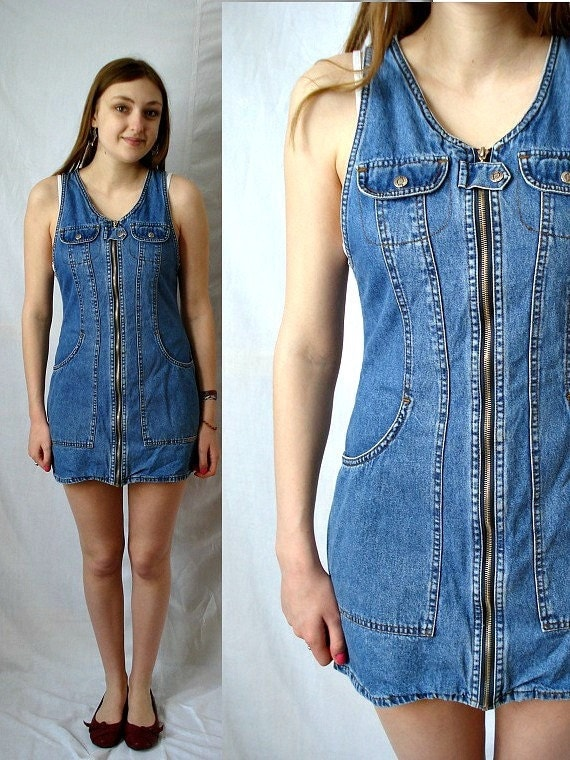 Reserved For Dm Vintage 80s Denim Zipper Dress Size Small