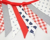 Bright and Cheerful Bunting - NAUTICAL in Navy & Red - The perfect decoration for Parties, Playrooms and Bedrooms