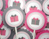 Gift Cupcake Toppers - Present with Bow Party Decorations - Colors Customizable