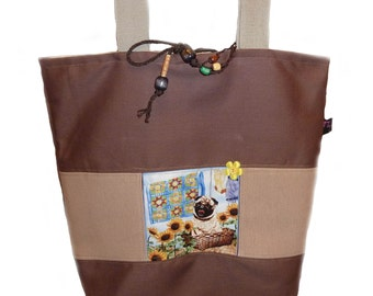 Tote Bag with Pug Dog - Sale