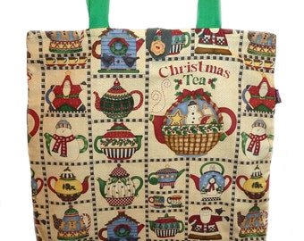 Christmas Tote Bag with Teapots - Cyber Monday Sale