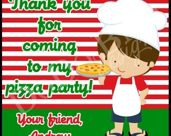 Pizza Party Favor Tags or Stickers Boy Printable DIY